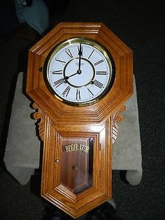 D&A SCHOOL HOUSE REGULATOR Wall Clock Oak Brass Wind Up Chime, - http://collectibles.goshoppins.com/clocks/da-school-house-regulator-wall-clock-oak-brass-wind-up-chime/