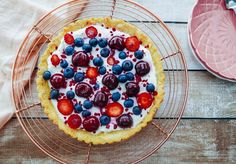 This tart recipe is the perfect way to enjoy fresh cherries and berries of the season. The crust is made using almond flour and sweetened with maple syrup, making it crisp and sweet, complementing the berries perfectly. Cherry Recipes, Tart Recipes, Brunch Recipes, Freeze Dried Raspberries, Berry Tart, Almond Flour, Raspberry, Baking, Fruit