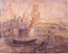 """Lars Hertervig (1830-1902; Norwegian artist) """"Babylon Harlot"""""""