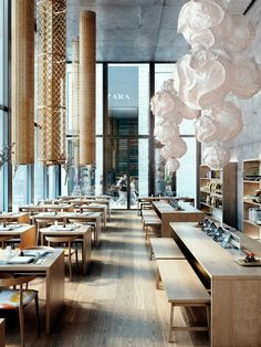 55. Sweeping wooden floors, floods of natural light and warped paper lamps that resemble meringues!