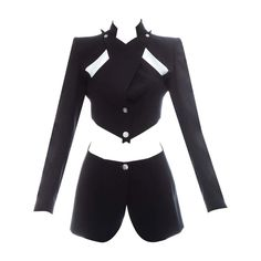 Cosplay Outfits, Edgy Outfits, Pretty Outfits, Cool Outfits, Fashion Outfits, Character Outfits, Black Wool, Blazer Jacket, Alexander Mcqueen