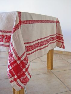 French Tablecloth Heavy Linen Damask Honey And Bright Red. $95.00, Via Etsy.