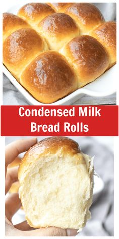 Fluffy, soft, and delicious. These amazing Condensed Milk Bread Rolls are super easy to make and perfect to serve with dinner or breakfast. via @Livingsmoments Homemade Dinner Rolls, Dinner Rolls Recipe, Homemade Breads, Yeast Bread, Bread Baking, Breakfast Bread Recipes, Muffin Recipes, Best Bread Recipe, Easter Recipes