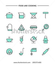 Stock Vector Illustration: set of flat design, thin line food and cooking icons