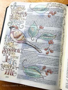 His Eye is on the Sparrow Bible Journaling traceable size Scripture Doodle, Scripture Art, Bible Art, Bible Journaling For Beginners, Bible Study Journal, Devotional Journal, Scripture Journal, Bible Words, Bible Scriptures