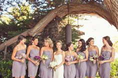 """LOVE the lavender dresses! Here's a great Tip for the bridesmaids concern of their strapless slipping down: In lieu of a necklace, you can add the new """"bling pin-straps ~ StrapN'Guard""""...it prevents your strapless from falling down and looks fabulous too...you'll be able to dance all night hands-free, guaranteed ;)"""