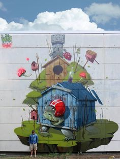 """Mr.Woodland with his work, """"Enough Space"""", in Munich, 5/15 (LP)"""