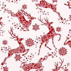 white reindeer snow star Christmas fabric Winter Essentials III 2