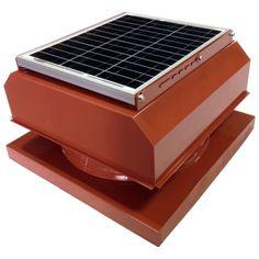 Solar Powered Attic Fan 365 CFM 5-Watt Roof Mounted Exhaust Ventilation Brown
