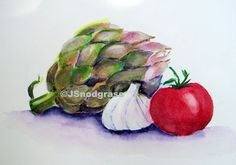 Your place to buy and sell all things handmade Watercolor Fruit, Fruit Painting, Still Life Fruit, Edible Art, Kitchen Art, Anxious, Be Still, Small Businesses, Art For Kids