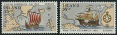 Iceland Scott #749-50 (06 Apr. 1992) Discovery of America Europa issue:  Viking longboat Leif Erikson;  Sailing ship of Christopher Columbus.   (stamps with border line).