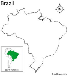 Printable Map--Outline of Brazil - @fabiana : : milpares.com Shields for Layla when she can color with crayons someday! :)