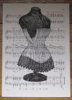 vintage french dress form on sheet music by OkioBDesigns on Etsy