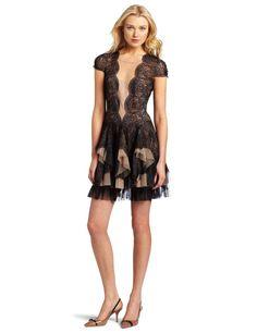 rochelle scallop lace dress black