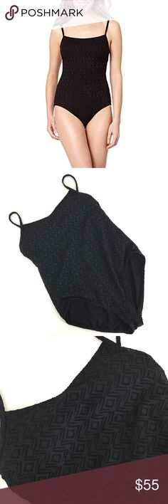 NWOT Catalina black crochet one piece swimsuit Black one piece lace crochet swimsuit  Catalina size xl(16-18)  Adjustable straps. NWOT. Still has hygienic liner.  •no trades•no offsite transactions•no low balls•offers considered through the offer feature only!•save when you bundle• cccs catalina  Swim One Pieces