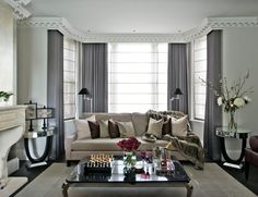 Dazzling Sofa Cushions convention London Transitional Living Room Remodeling ideas with beige sofa black lampshades cornice faux fur fur throw gray curtains mirror side tables Curtains For Grey Walls, Curtains Living, Living Room Windows, Living Room Grey, Small Living Rooms, Living Room Sofa, Living Room Decor, Grey Room, Gray Walls