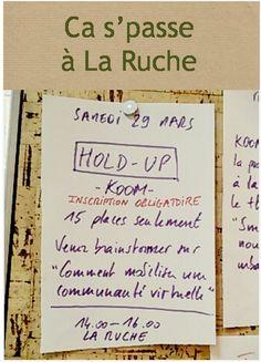 Koom nous propose de participer à son Hold Up ce samedi de 14h à 16h. Inscriptions : jerome@koom.org
