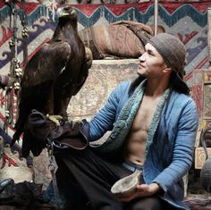 Kazakh man with eagle.