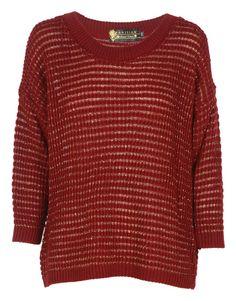 Burgundy Lurex Striped Knit Jumper £ 8.95 #chiarafashion