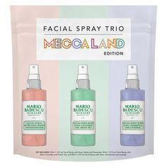 Mario Badescu Featuring three of Mario Badescu's bestselling facial mists mists, this limited edition trio is just what your skin needs to keep refreshed, hydrated and glowing. Facial Skin Care, Facial Masks, Radical Skincare, Mecca Cosmetica, Ren Clean Skincare, Mini Facial, Juice Beauty, Lipstick Queen, Mists