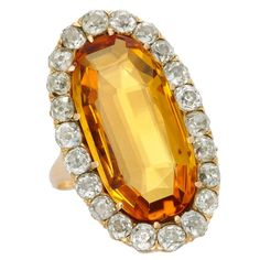 A 19th Century English Topaz Diamond Ring | See more rare vintage More Rings at https://www.1stdibs.com/jewelry/rings/more-rings
