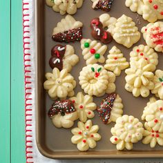 Buttery Spritz Cookies Recipe -This tender spritz cookie recipe is very eye-catching on my Christmas cookie tray. The dough is easy to work with, so it's fun to make these into a variety of festive shapes. Best Spritz Cookie Recipe, Best Christmas Cookie Recipe, Spritz Cookies, Holiday Cookies, Sugar Cookies, Cookie Recipes, Dessert Recipes, Molasses Cookies, Chip Cookies