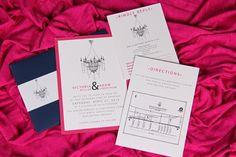 Pocket Envelope with Chandelier Graphic Wedding Invitation  www.papercreations.ca