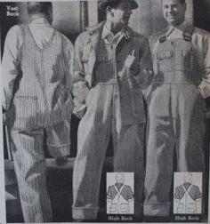 1934 men's striped overalls with high and low backs