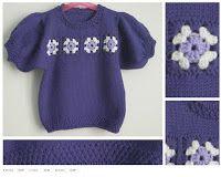 golfino mezza manica da bimba  con intarsi crochet  www.mompatchwork.blogspot.com