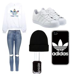 """Adidas"" by karynaguerrero on Polyvore featuring adidas, Topshop, adidas Originals, NLY Accessories and Essie"
