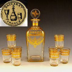 Antique French Baccarat Gilt Crystal Liquor Set, Decanter & Shot Glasses  from The Antique Boutique on Ruby Lane