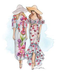 Florals for Spring  @ Moda Operandi Left:Dolce & Gabbana Fall 2016 / Right: Johanna Ortiz Fall 2016 - fashion illustration.