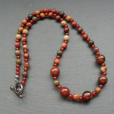Obsidian Agate and Jasper Beaded Necklace £15.00