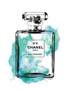Chanel No.5 watercolor Grren PRINTABLE A4 by hellomrmoon on Etsy