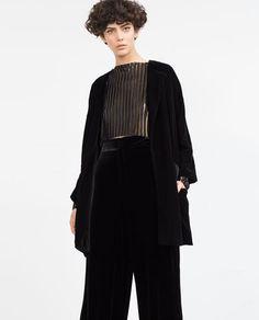 Image 5 of OVERSIZED VELVET KIMONO from Zara