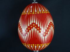 Ornament on Chicken Egg Hand Decorated Pysanka by EggstrArt