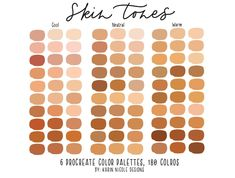 Skin Tones Procreate Color Palette for iPad 6 Palettes 180 Skin Color Palette, Palette Art, Warm Color Palettes, Color Palette Challenge, Colors For Skin Tone, Warm Skin Tones, Neutral Skin Tone, Color Palette Generator, Digital Art Tutorial