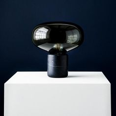Karl-Johan Table Lamp – Black Marquina W. Smoked Glass by Signe Hytte Light Table, Lamp Light, Black Table Lamps, Co Working, Black Marble, Glass Domes, New Words, Glass Pendants, Light In The Dark