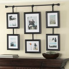 Wall Solutions Rod And Frame Set Black - Create and display a collage of your favorite photos with the Wall Solutions rod and frame set. This set takes the guesswork out of arranging photos with pre-arranged frames to create a grouping of photos. Hanging Picture Frames, Collage Picture Frames, Frames On Wall, Wall Collage, Multiple Picture Frame, Collage Photo, Bed Frames, Hanging Pictures, Photo Hanging