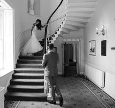 Bride and groom on the stairs. Bride & groom getting married outside in traditional style at Theobald's Park Hotel North London. Park Hotel, North London, Flower Dresses, Bride Groom, Getting Married, Stairs, Wedding Photography, Traditional, Wedding Dresses