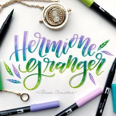 Hermione Granger for week 3 of 💚💙💜 Mundo Harry Potter, Harry Potter Quotes, Harry Potter Love, Creative Lettering, Brush Lettering, Hermione Granger, Desenhos Harry Potter, Harry Potter Drawings, Yer A Wizard Harry