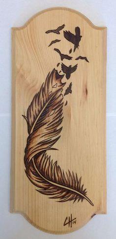 Articles similaires à Birds Of A Feather (Wood Burning / tache peinture) sur Etsy