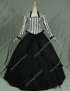 Civil War Victorian Steampunk Black White Stripes Ball Gown Dress Reenactment Stage Costume