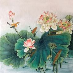Page 6 Buy Chinese lotus paintings & scrolls from China. Save compared to your local store by good lotus painting artists. Lotus Painting, Artist Painting, Painting & Drawing, Chinese Painting, Chinese Art, Butterfly Art, Flower Art, Lotus Art, Gold Leaf Art