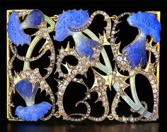 Lalique  Dog Collar Plaque: gold/enamel/diamonds w/four striking blue thistle flowers. Lalique Alsace Museum