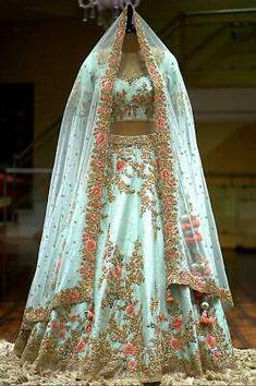 A Sky Blue Color Zardosi Embroidered Raw Silk Bridal Lehenga - Designer Dresses Couture Bridal Lehenga Online, Designer Bridal Lehenga, Indian Bridal Lehenga, Lehenga Choli Wedding, Pakistani Lehenga, Anarkali, Bridal Lenghas, Bollywood Lehenga, Lengha Choli
