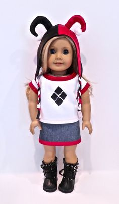 Harley Quinn doll clothes. Betty Allan Designs Etsy!    https://www.etsy.com/shop/BettyAllanDesigns