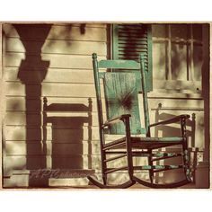 Country Photography, Rustic Decor, Rocking Chair, Front Porch, Green,... ($30) ❤ liked on Polyvore featuring home, home decor, wall art, backgrounds, pictures, fundo, photo wall art, green home decor, photo picture and paper wall art