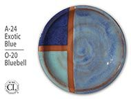 Photo of plate glazed with A-24 Exotic Blue over O-20 Bluebell