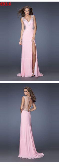 Etui-Linie V-Ausschnitt Perlenstickerei Reißverschluss aus Chiffon  Sweep Pinsel Zug Rosa Ballkleider Abendkleider Lang Günstig 155c4a02ac
